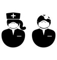 doctor and nurse with mask icon black and white vector image