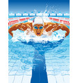 dynamic and fit swimmer in cap breathing vector image