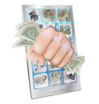 fist smashing out of phone with money vector image vector image