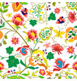 folk flowers vintage style seamless pattern vector image