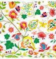 folk flowers vintage style seamless pattern vector image