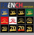 french set of number 70 templates vector image