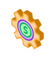 gear dollar coin isometric icon vector image vector image