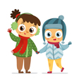 Happy girl and boy in winter coats isolated on vector image vector image