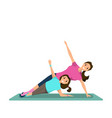 happy woman and child doing fitness training vector image