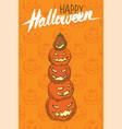 jack-o-lantern pumpkins halloween greeting card vector image