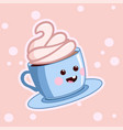 kawaii coffee with cream cute cafe drinks vector image