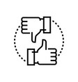 like and dislike - line design single isolated vector image vector image
