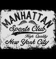 manhattan new york athletic tee graphic vector image