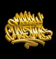merry christmas graffiti style golden lettering vector image vector image