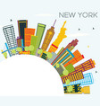 new york skyline with color buildings blue sky vector image vector image
