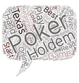 Online Texas Holdem Poker for Beginners text vector image vector image