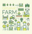 organic farm line icons set vector image