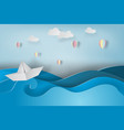 paper art of boat and balloon with origami made vector image