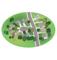 part of village - street with houses - airview vector image vector image