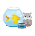 pet shop hamster fish in bowl and food animal vector image vector image