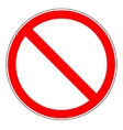 Prohibition sign on white background vector image vector image