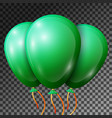 realistic emerald balloons with ribbons isolated vector image vector image