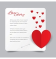 red paper heart valentines day card love story vector image vector image