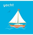 Sailing yacht on blue backdrop vector image