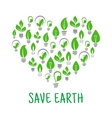 Save Earth Green leaf energy poster vector image vector image