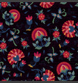 seamless ethnic floral pattern red on black vector image vector image