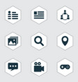 social icons set with location social page chat vector image vector image