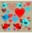 Stickers with birds and hearts vector image