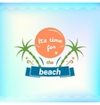 Summer sign retro typography sea and beach logo vector image vector image