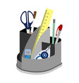 support for a desktop with office supplies vector image