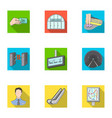 train means movement and other web icon in flat vector image vector image