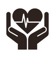 two hands holding heart - conceptual design vector image vector image