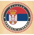 vintage label cards serbia flag vector image vector image
