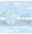 winter landscape tree on the shore vector image