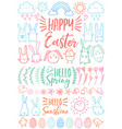 happy easter set of doodles vector image