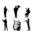 silhouettes of orchestra musicians vector image