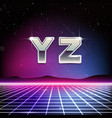80s retro sci-fi font from y to z vector image vector image