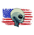 alien extraterrestrial green face with american vector image vector image