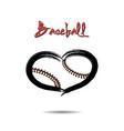 baseball ball shaped as a heart vector image vector image