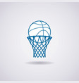 basketball ball and net icon vector image