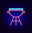 bbq grill neon sign vector image vector image