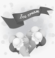 black-and-white poster - two wafer ice cream vector image vector image