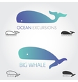 Blue Whale logos set Concept fish logo Simple vector image