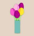 bouquet of five paper cut tulip flowers in vase vector image