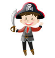 boy dressed up in pirate costume vector image