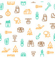 camping hiking thin line seamless pattern vector image