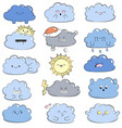 cartoon doodle comic with cute clouds vector image vector image