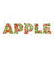 cartoon word apple green red yellow cartoon vector image vector image