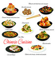 chinese cuisine meat vegetables seafood and rice vector image vector image