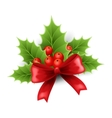 Christmas holly and red bow vector image